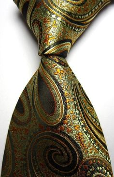 Gold Olive Black Paisley Silk Woven Necktie