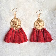 Red Tassel Earrings on Gold tone Metal Disc,Dangle Drop Earring,Hoop Earrings, Bohemian Jewelry, Statement Earrings, Beach Earrings