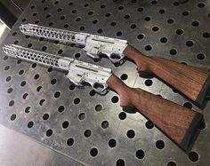 "A couple Nomad ""Califas"" Rifles all hand fit and headed to (at JJFU) Weapons Guns, Guns And Ammo, Revolver, Gun Art, Submachine Gun, Concept Weapons, Custom Guns, Home Defense, Cool Guns"