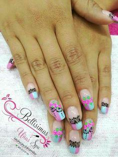 Flower Nails, Valencia, Hair Beauty, Enamels, Studying, Work Nails, Nail Art Designs, Nail Polish Designs, Long Nails