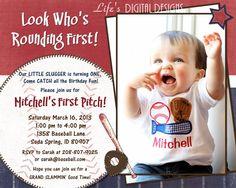 First Birthday Baseball Invitation Baseball Ticket Invitation Little