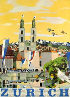 1957 Zurich, Switzerland vintage travel poster