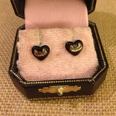 Juicy Heart Earrings! Authentic! One original back. Authentic box but not their original box. I actually found the other back! It's just not pictured. Juicy Couture Jewelry Earrings