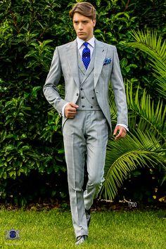 Italienisch perlgrau und hellblaue Cut Anzug mit steigendes Revers und 1 Steinnüsse-Knopf, aus Schottenmuster Wollmischung Stoff. Hochzeitsanzug 1700 Kollektion Gentleman Ottavio Nuccio Gala.