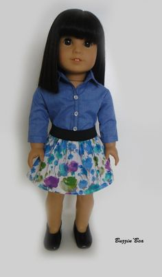 Button Up Shirt and Floral Skirt - American Girl Doll Clothes