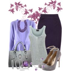 """Silver & Periwinkle"" by anna-campos on Polyvore"
