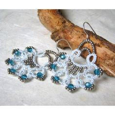 Mermaid tail tatted earrings, by Anna Cinque