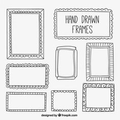 Collection of hand drawn frame Doodle Frames, Drawing Frames, Wall Drawing, Menu Illustration, Chalkboard Doodles, Black And White Frames, Drawing Journal, Cafe Art, Sketch Notes
