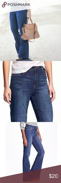 "NWT Old Navy High Rise Flare Jeans Brand new with tags high rise Flare jeans. Super stretchy and in a beautiful dark denim. Too big for me though. Inseam about 34"" long (perfect for heels or wedges). Bundle and save! 💕✌🏼😊 Old Navy Jeans Flare & Wide Leg"