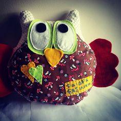 softie owl Softies, Owls, Cotton Fabric, Lunch Box, Handmade, Hand Made, Owl, Cotton Textile, Fabric Dolls