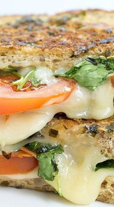 Italian BLT Grilled Cheese made with Swiss.