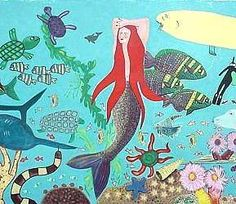 Large playground mural with lots of creatures and a scuba diver too