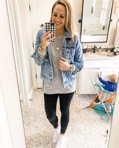 Errand running in this super cute distressed jean jacket from @oldnavy & @stelladot leggings! #mommychic #momystyle #casualcute #oldnavy #stelladot #weekdaystyle #shopstyle #sscollective