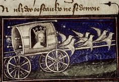https://flic.kr/p/f1rvxJ | venus sets off in her carriage to wage war on chastity (line 15788)... | from: Le Roman de la Rose. ~Guillaume de Lorris and Jean de Meun 14th century MS. Douce 332 fol. 147r