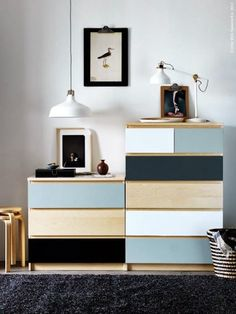 Paint a pretty palette of colours onto Malm dresser drawers for a mod look.