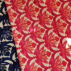 Pink or blue? Pomegranate print available in running fabric, table linens, and tissue covers. #ecru #ecruonline #pomegranate #blockprint #runningfabric #tablelinens #pink #navy