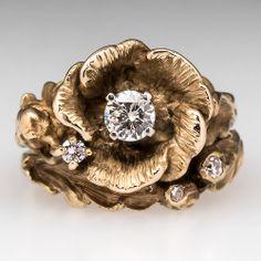 Vintage Floral Diamond Engagement Ring Wedding Set 14K Gold