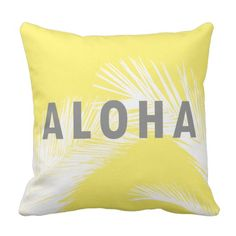 Hawaiian Aloha Grey Typography Palm Trees  Yellow Throw Pillow