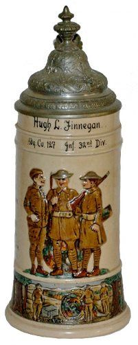 WWI US Hdq 127 Inf 32nd Div Military Stein RFA - 6-13