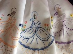 PRETTY-VINTAGE-HAND-EMBROIDERED-TABLECLOTH-CRINOLINE-LADIES