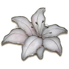 Stained glass suncatcherlily delicate pink white by Nostalgianmore,