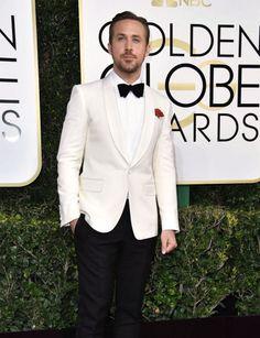 Wedding Suits Ryan Gosling White Tuxedo - Ryan Gosling White Golden Globe Tuxedo ON SALE at affordable and Discounted Price White Tuxedo Wedding, Groom Tuxedo Wedding, Wedding Suits, Wedding Tuxedos, Wedding Vows, Ryan Gosling Suit, Prom Blazers, Tuxedo Styles, Gq