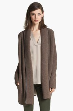 $485  Vince Leather Trim Blanket Sweater Medium. I am so tired of winter, but I never get tired of super cozy sweaters. (On ebay for $230, which is still too much.)