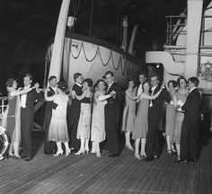 Some of the 1,000 guests who attended an all-night ball on the world's largest liner, the White Star Line's Majestic, moored at Southampton in 1926. (Brooke/Topical Press Agency/Getty Images)