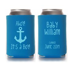 Ahoy It's a Boy Baby Boy Shower Koozie Favors, nautical baby shower, shower favors, coed baby shower, baby shower ideas, gender reveal party on Etsy, $85.00