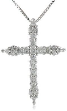 "10k White Gold Diamond Cross Pendant Necklace (1/4 cttw, I-J Color, I2-I3 Clarity), 18"" for sale"