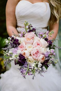 Romantic Pink and Purple Rose Bouquet | Jenna Henderson, Photographer | http://knot.ly/6495BIphR | http://knot.ly/6497BIphT