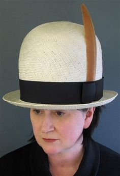 Prudence wearing her Giant Bowler dented hat in straw with feather http    prudencemillineryshop d5ca7feeddf5