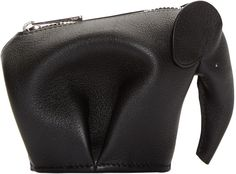 Loewe - Black Leather Elephant Pouch