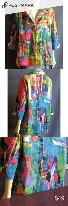 Michael Leu  Seaside Resort Art to Wea Jacket 1X Michael Leu cotton jacket in a size 1X. Art to wear. Two button closure. Colorful print. Seaside resort town with sail boats bridges and sidewalk cafes. Side pockets. Unlined. Three-quarter sleeves.  100% cotton. Machine washable.  Measurements Taken Laid flat:  24 1/4 inches across underarm to underarm  24 inches across waist  25 inches across hips  17 inches across shoulders seam to seam  28 inches long from top of shoulder to hem  Sleeves…