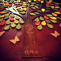 Different take on the tree guest book; each guest signs a leaf to create a great piece of art | Offbeat Bride