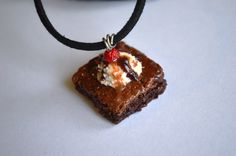 Chocolate cake polymer clay necklace by ASweetScaleWorld on Etsy