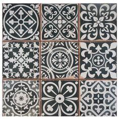 "Faventie Nero 13"" x 13"" Ceramic Field Tile in Black/White"