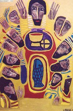 Gisele Bauche: Last Supper Christian Stories, Christian Art, Religious Paintings, Religious Art, Images Of Christ, Cross Art, Biblical Art, Last Supper, Catholic Art