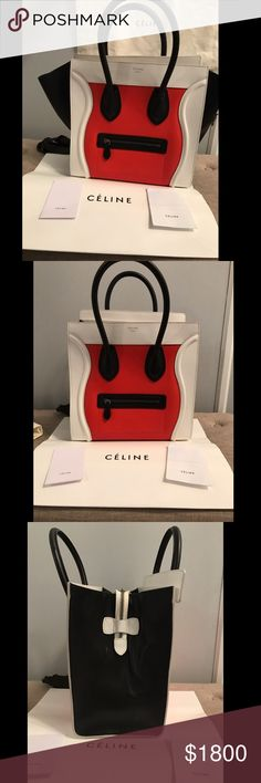 Celine Mini Tri Color Red White Black Luggage Celine Luggage Mini Red, white, black I have the original shopping bag from when I bought it, the dustbag, and care instructions.  Pre owned, in beautiful condition. Pictures are of the actual bag and all that is included.  You will get complements everywhere you go when carrying this bag! Will ship with signature conformation   Can make better deal direct pp. Celine Bags Shoulder Bags