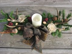 Camo Deer Antler Candle Centerpiece Camo Wedding by TheVineDesigns, $85.00