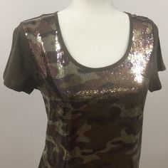 DKNY olive green with sequence only in the front Never worn. New. 100% cotton. DKNY Tops
