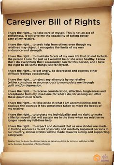 Bill of Rights.Caregiver Bill of Rights. Dementia Care, Alzheimer's And Dementia, Vascular Dementia, Dementia Symptoms, Dementia Awareness, Bill Of Rights, Caregiver Quotes, Parenting Quotes, Nutrition Sportive