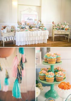 Vintage Floral Bridal Shower Dessert Table + Cupcakes + Tissue Tassels