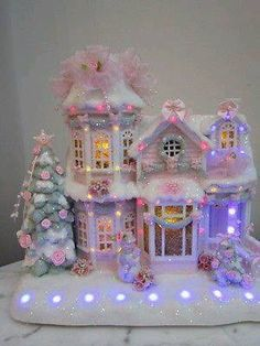 Shabby Chic Home Decor Shabby Chic Christmas, Victorian Christmas, Vintage Christmas, All Things Christmas, Christmas Home, Christmas Crafts, Christmas Glitter, Christmas Village Houses, Christmas Villages