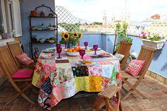 toalha de mesa em patchwork