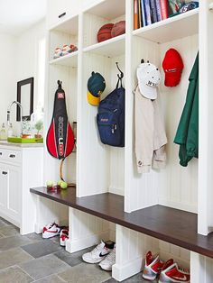 Use Overhead Space - Targeting wasted space is the key to maximizing storage in smaller spaces such as entryways. Easily increase storage capacity by incorporating handy overhead cabinets or cubbies. In this entryway, a bench makes grabbing out-of-reach items a cinch. http://www.bhg.com/rooms/rooms/entryway/entryway-storage/