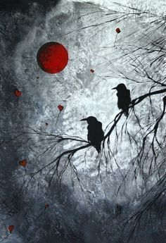 red moon and crows