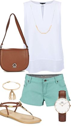 Summer mint chocolate  outfit by Kami :) #shorts #mintchocolate #boho