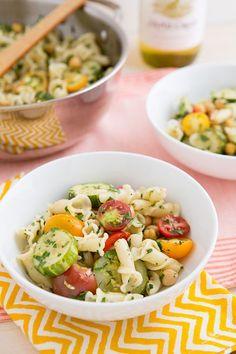 Braised Zucchini, Cherry Tomato, and Chickpea Pasta