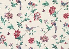 Elveden Cranberry Floral Linen/Cotton Fabric, my mum always made homemade curtains using Laura Ashley fabric, now it's my turn! Vintage Floral Fabric, Floral Print Fabric, Floral Prints, Bird Fabric, Draped Fabric, Curtain Fabric, Cotton Fabric, Floral Print Wallpaper, Decoupage